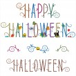 Happy Halloween greeting text and design elements — Stock Vector