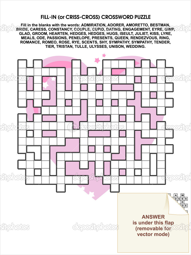 Valentine Day, love, romance, or wedding themed criss-cross word puzzle (also known as fill in the blanks crossword puzzle, or kriss-kross). Answer included. — Stock Vector #13277286
