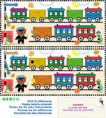 Toy train find the differences picture puzzle — Stock Vector