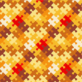Autumn colors puzzle background, seamless pattern included — Stock Vector
