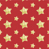 Stars over knitted background, seamless pattern included — Stock Vector