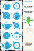 Visual math puzzle - find the top view for each teapot — Stock Vector
