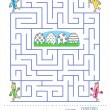 Stock Vector: Maze game and coloring page for kids