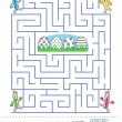 Maze game and coloring page for kids — Stock Vector