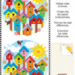 Find the differences visual puzzle - birdhouses — Stock Vector #21823163