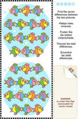 Find the differences visual puzzle - fish — Stock Vector