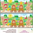 Easter find the differences picture puzzle - Stock Vector