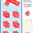 Visual math puzzle with red dice cubes - Imagen vectorial