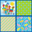 Spring and summer seamless patterns or backgrounds — Stock Vector