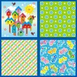 Stock Vector: Spring and summer seamless patterns or backgrounds