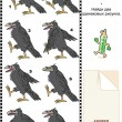 Visual puzzle - find two identical images of ravens — Stock vektor