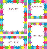 Colorful puzzle frames — Stock Vector
