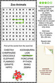 Zoo animais wordsearch puzzle — Vetor de Stock