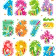 Decorated numbers, see also corresponding ABC set — Stock Vector