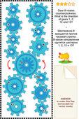 Vizuální puzzle s rotující ozubená kola — Stock vektor