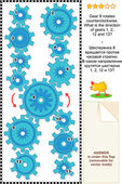 Visual puzzle with rotating gears — Stock Vector