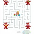 Stok Vektör: Maze game for kids - teddy bears