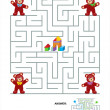 Vettoriale Stock : Maze game for kids - teddy bears