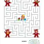 labirinto jogo para crianças - ursinhos — Vetorial Stock