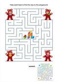 Maze game for kids - teddy bears — Stock Vector