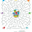 Vecteur: Maze game for kids - birds and birdhouses