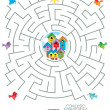 Stok Vektör: Maze game for kids - birds and birdhouses