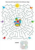 Maze game for kids - birds and birdhouses — Stock Vector