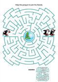 Maze game for kids - skating penguins — Stock Vector