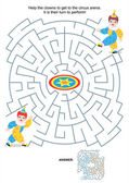 Maze game for kids - clowns — Stock Vector