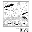Постер, плакат: Dot to dot and coloring page Halloween bat