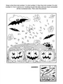 Dot-to-dot and coloring page - Halloween bat — Stock Vector