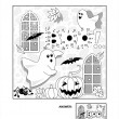 Постер, плакат: Halloween dot to dot and coloring page