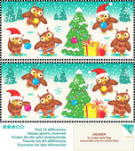 Christmas owls find the differences picture puzzle — Stock Vector
