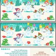 Stock Vector: Find differences picture puzzle - christmas snowmen