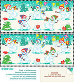 Find the differences picture puzzle - christmas snowmen — Stock Vector