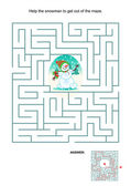 Maze game for kids - snowman — Stock Vector