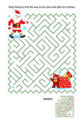 Maze game for kids - Santa and his sack — Stock Vector