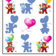 Stock Vector: Valentine bears shadow game