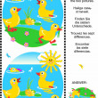 Find the differences visual puzzle - ducklings — Stock Vector