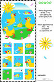 Cute little ducklings visual logic puzzle — Stock vektor