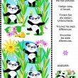 Find the differences visual puzzle - panda bears — Stock Vector