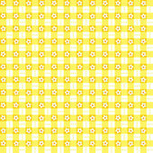 Seamless yellow floral gingham background — Stock Vector