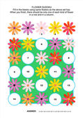 Picture sudoku puzzle with gerbera daisy flowers — Stock Vector