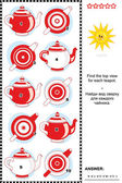 Visual puzzle - find the top view for each teapot — Stock Vector