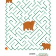 Maze game - mother bear and her cubs — Stock Vector