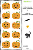 Visual puzzle - find two identical pictures of Halloween pumpkins — Stock Vector