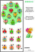 Bugs and beetles visual logic puzzle — 图库矢量图片