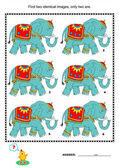 Visual puzzle - find two identical pictures of elephants — Stock Vector