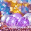 Greeting card with Christmas balls in bright lilac design — Stock fotografie