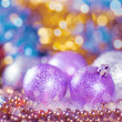 Greeting card with Christmas balls in bright lilac design — Stok fotoğraf